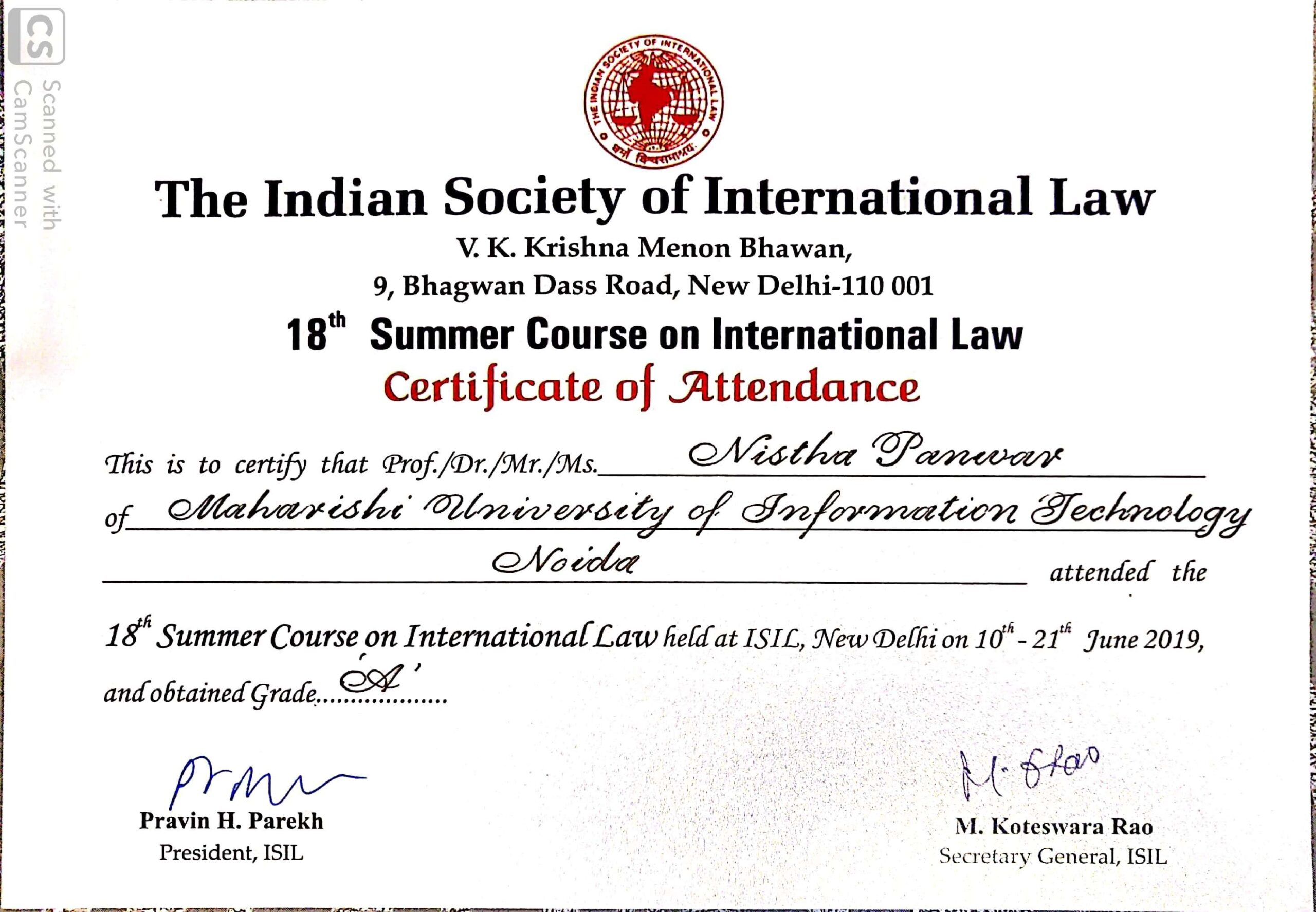 MUIT Noida: Law Student Certificate - The Indian Society Of International Law Certificate