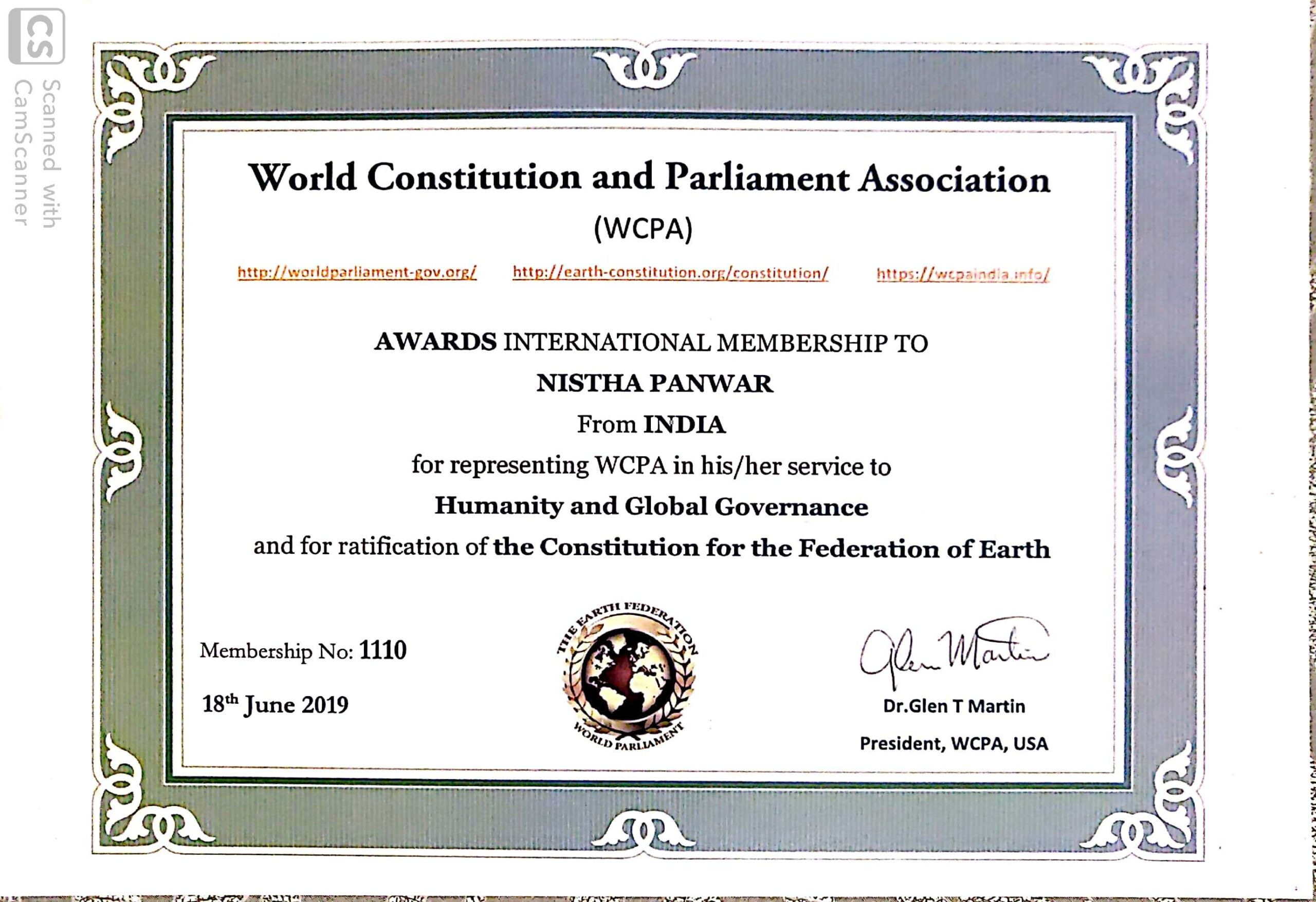 MUIT Noida: Law Student Certificate - World Contitution And Parliament Association Certificate