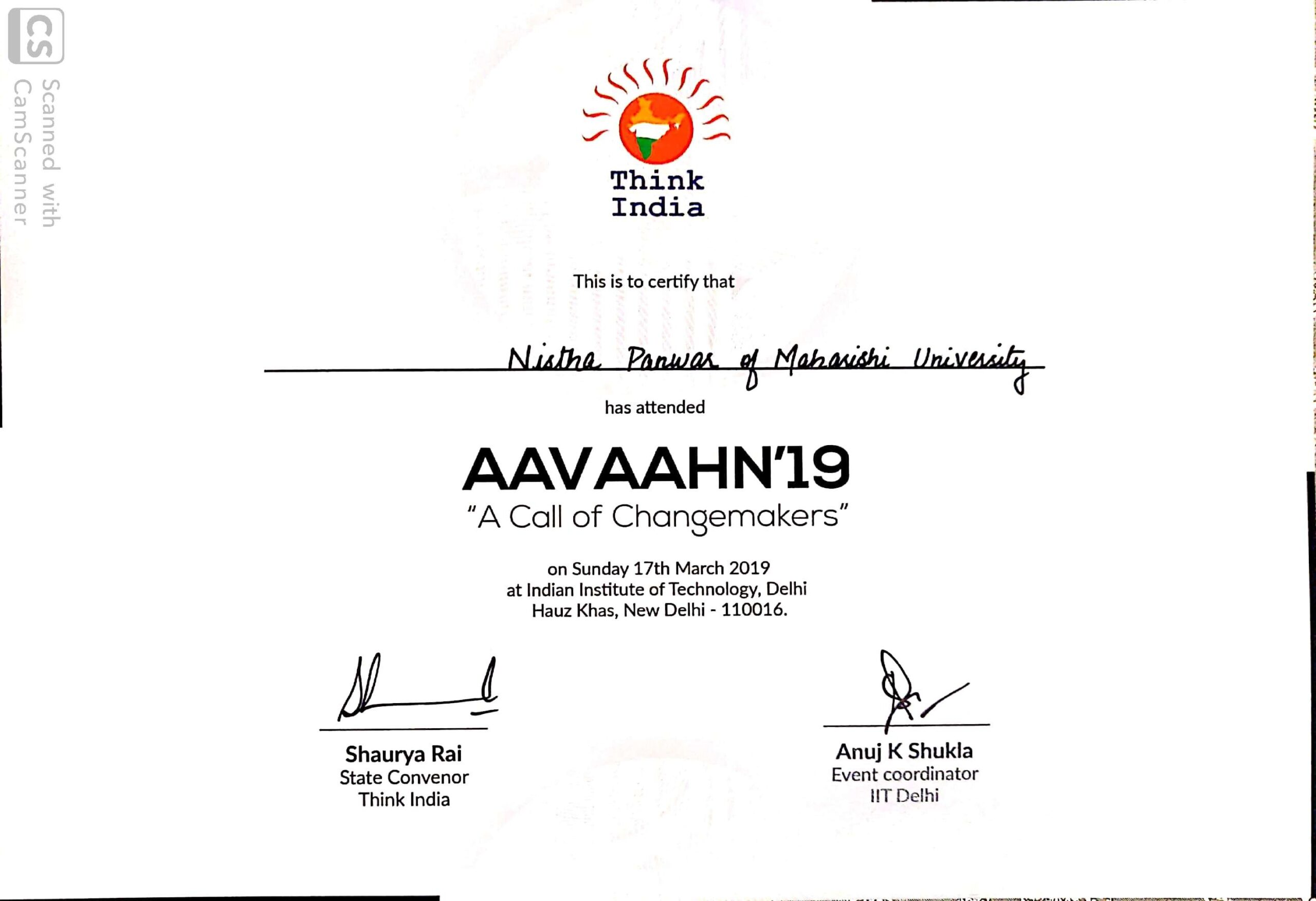 MUIT Noida: Law Student Certificate - Think India Certificate AAVAAHN'19
