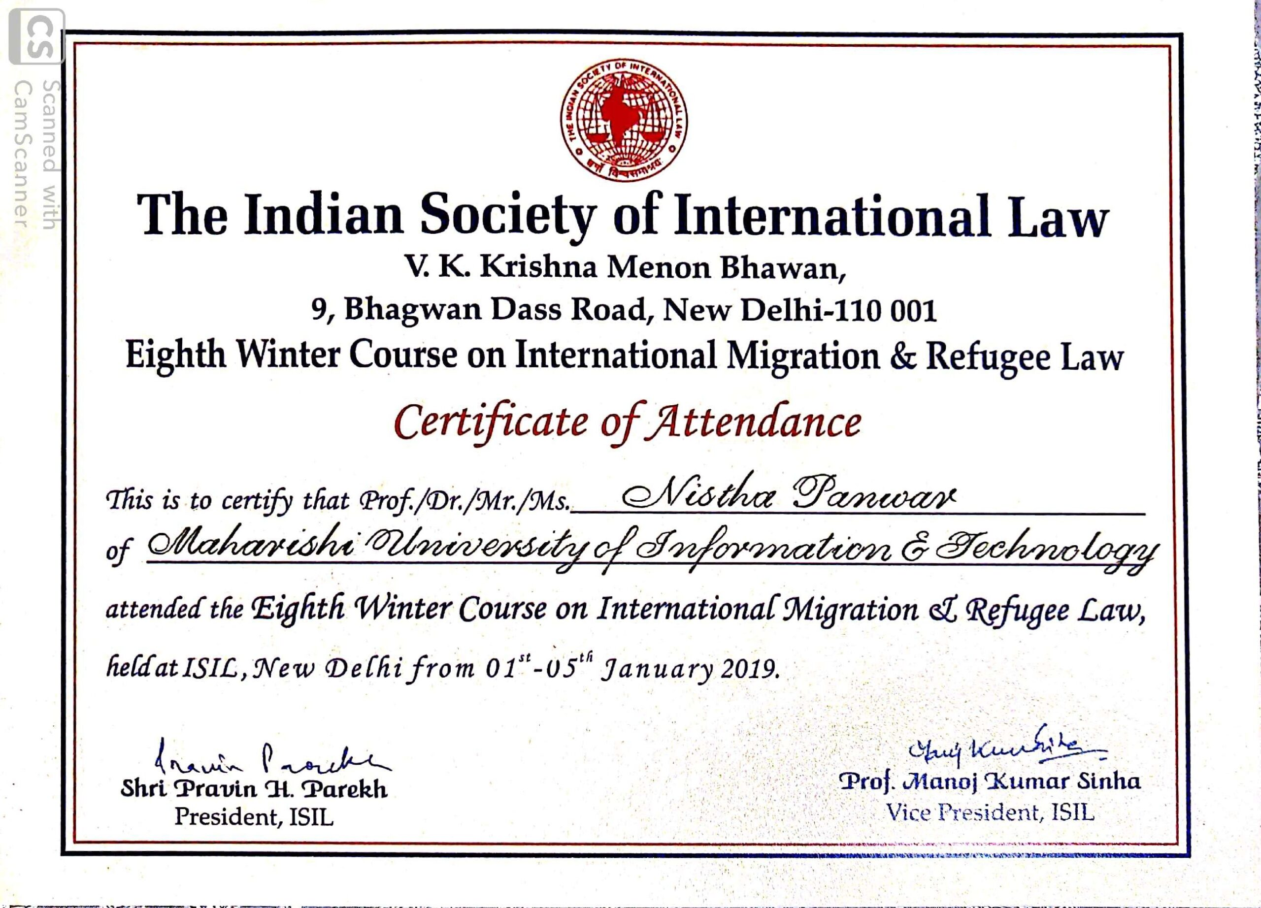 MUIT Noida: Law Student Certificate - Indian Society Of International Law Certificate